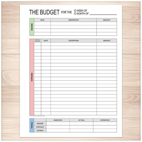 Printable Budget Worksheet, Weekly or Monthly - Track your ...