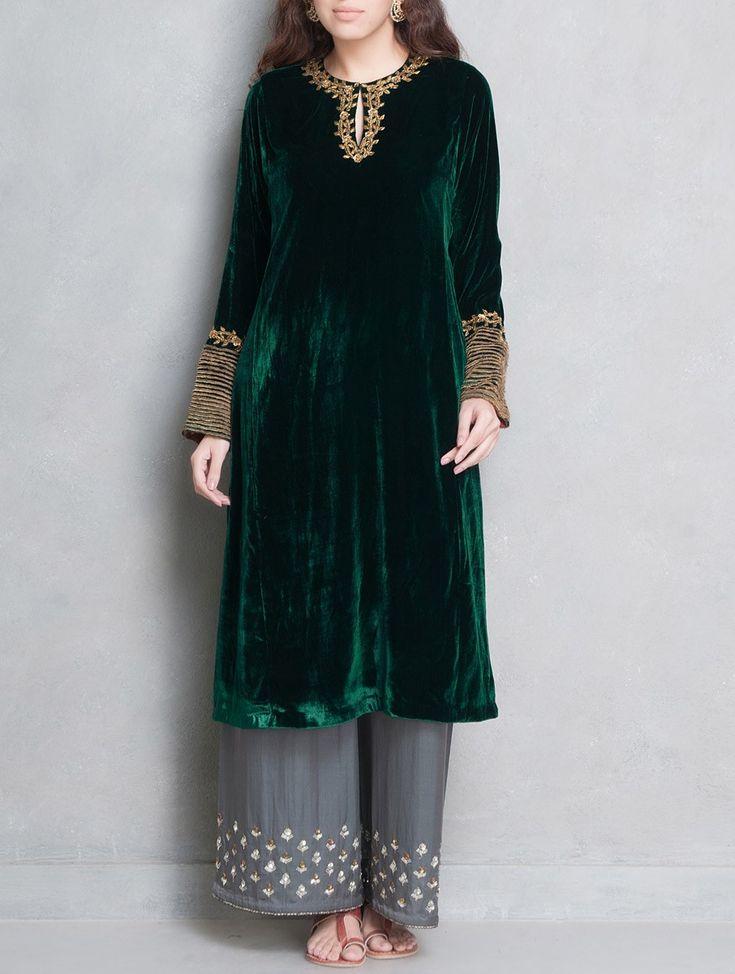 Buy Green Golden Sequin & Dabka Embellished Velvet Silk Kurta Apparel Tunics Kurtas Online at Jaypore.com