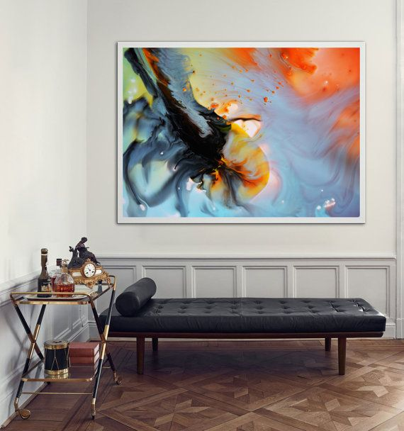 Abstract Painting Orange Blue Modern Painting Large  by BuyWallArt