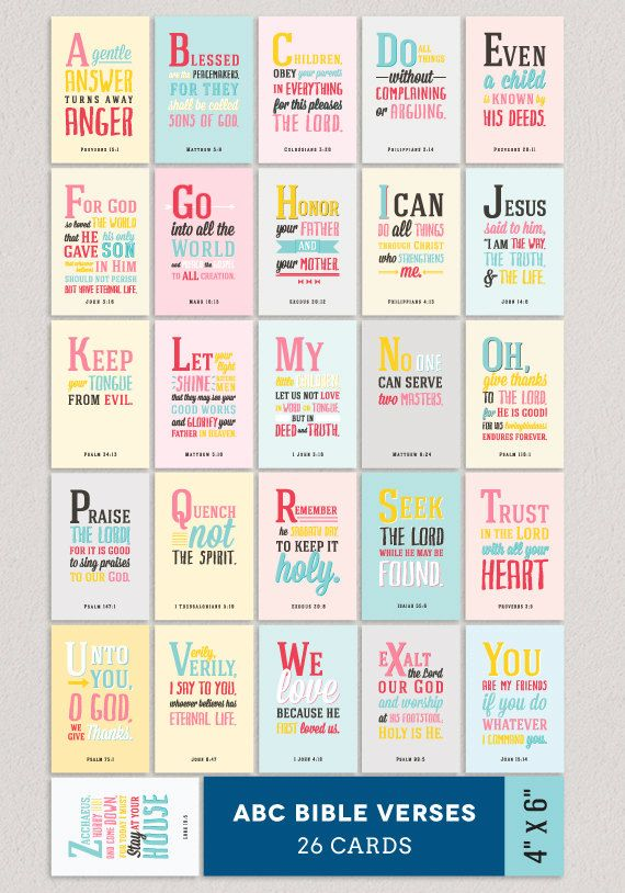 ABC Verses A to Z Bible Verses for Children 26 4x6 by Huetopia LOVE, LOVE, LOVE THESE!!