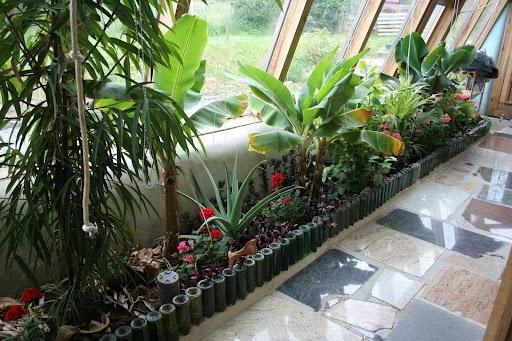 indoor planter in an earthship