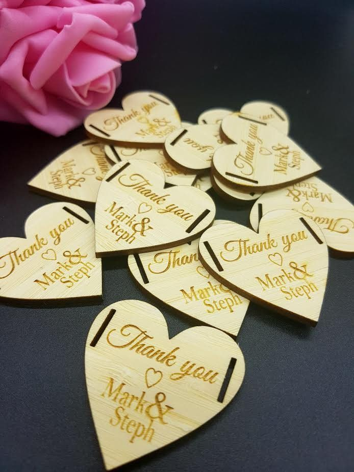 10 x Mini wooden thank you hearts with ribbon slots