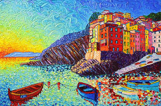 Riomaggiore Sunset - Cinque Terre Italy - Palette Knife Oil Painting By Ana Maria Edulescu by Ana Maria Edulescu