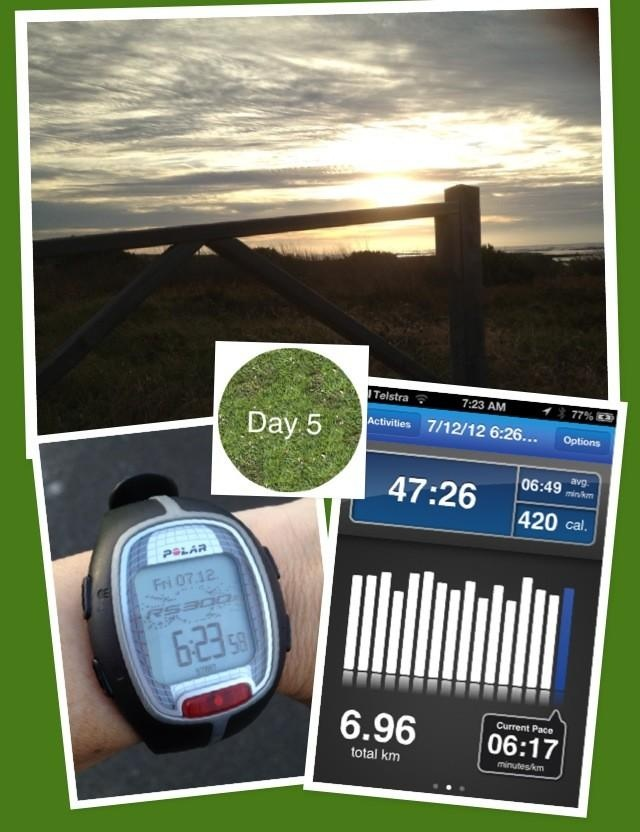 @Lynn: Day5 done! Finally some nice weather for an early morning run by the beach