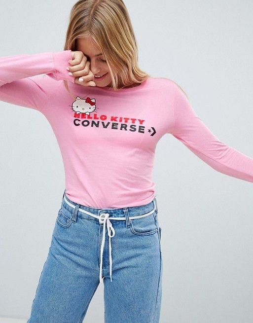 f57aa0dc3b5c Converse X Hello Kitty Pink Longsleeve T-Shirt Slim