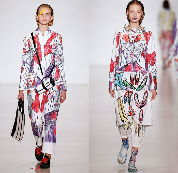 Tatyana Parfionova 2014 Spring Summer Womens Runway Collection - Mercedes-Benz Fashion Week Russia Moscow - Artwork Illustrations Colored Pencil Drawings Portraits Animals Flowers Birds Pets Cats Dogs Heels Oversized Coats Leggings Bandeau Crop Top