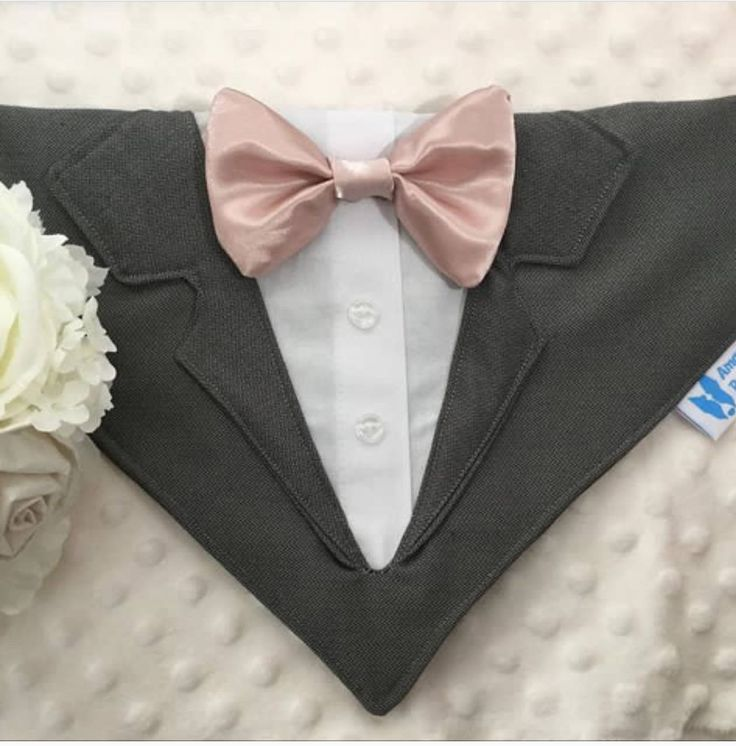 Grey dog tuxedo with optional vest and bow tie, Collar Bandana, dog or cat. small, med or large dogs by AmandasBandanas on Etsy