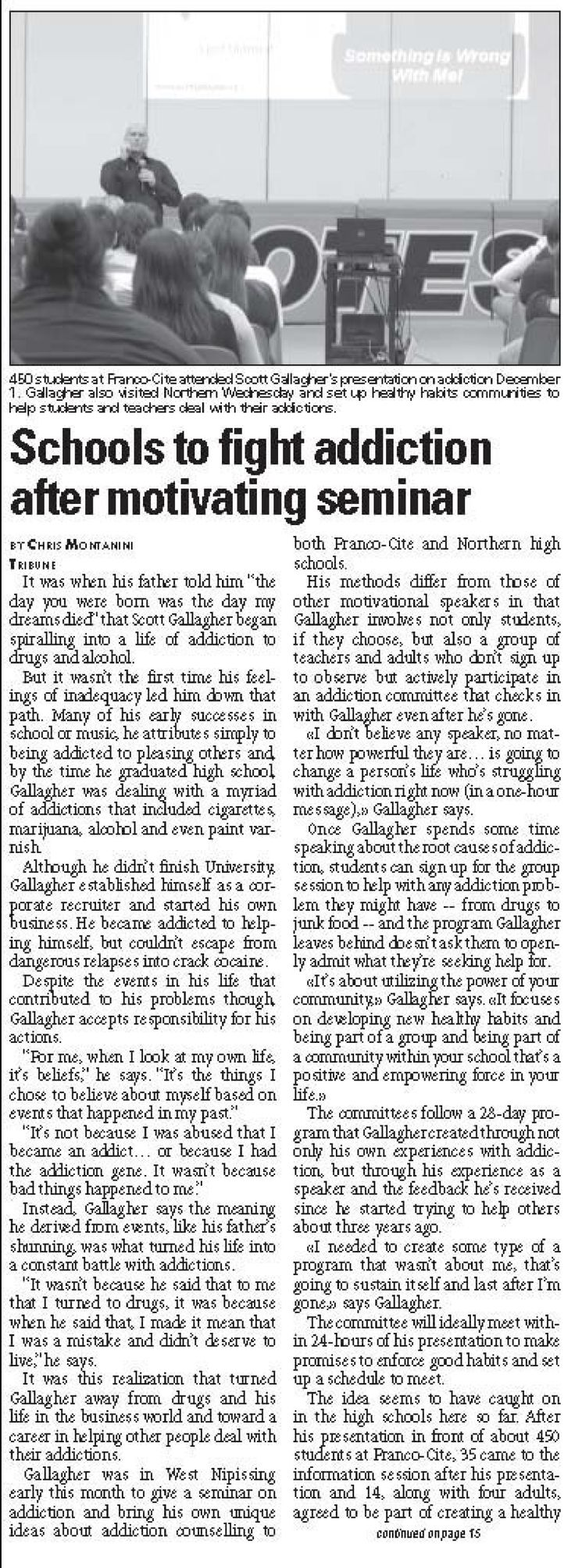 """Article on Scott Gallagher """"Schools to fight addictions after motivating seminar"""""""