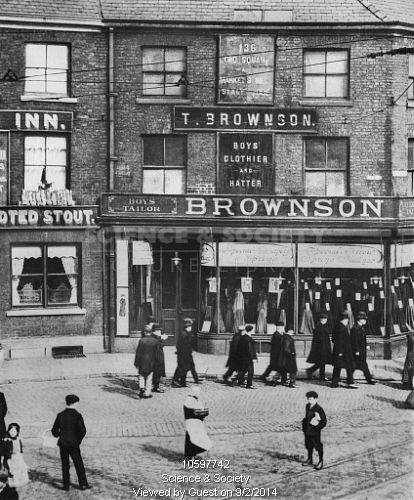 Brownson's Tailors Shop in Old Square, Ashton-under-lyne, c1910