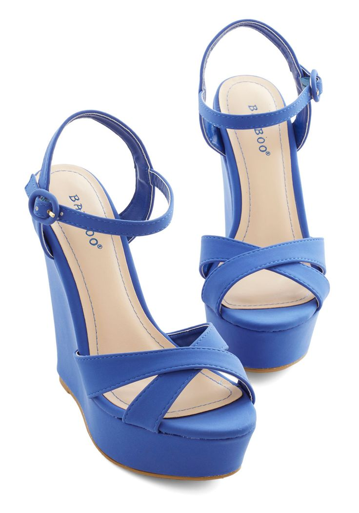 Nautical Nightspot Wedge. Debut at the dance party on the dock feeling fab in these royal-blue wedges! #blue #modcloth