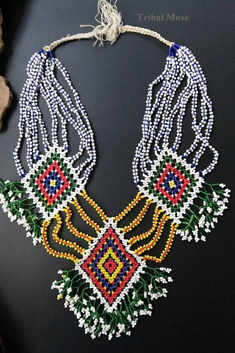 Colorfully beaded traditional necklace from the snake charmer Kalbelia (Kalbeliya) Gypsy Tribe of Northern India.