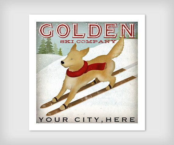 Made to Order GOLDEN Golden Retriever Ski Company by nativevermont, $39.00
