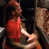 Josh dancing in the bus (with Reese's puffs) gif