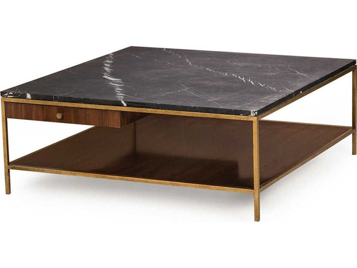"""Resource Decor Copeland Black Nero Marquina Marble with Walnut & Satin Brass 42"""" Wide Square Coffee Table"""