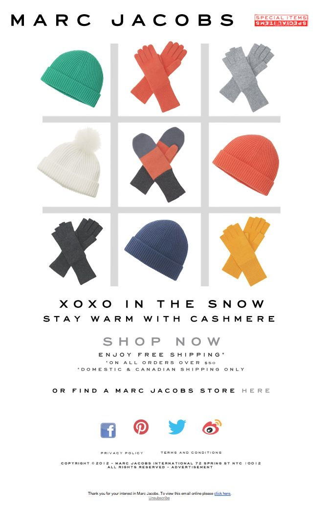 Fun email content idea -- revolving around the shape/laydowns own of products