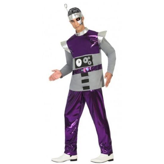 Paars robot kostuum voor heren. 3-delig robot kostuum dat bestaat uit de broek, het shirt en het hoofdstuk. Materiaal: 100% polyester.