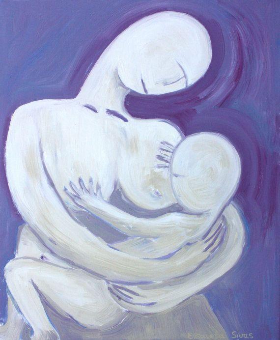 Original oil painting // mother breast feeding by elisavetasivas, €90.00