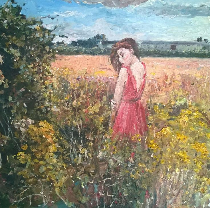 Original painting collected artist Samuel Burton Woman in the long row field oil