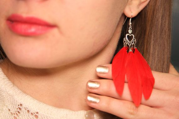 Red Feather Beaded Bright Dangle Boho Chic Statement Earrings Heart Love Nature Long Bird Festival Bohemian Jewelry Christmas Gift for Her