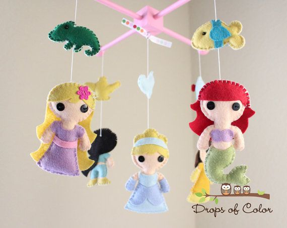 Baby Mobile - Baby Crib Mobile - Princess Mobile - Girl Nursery Room Decor - Disney Princesses (You Can Pick Other Custom Princesses) I think I could make this.