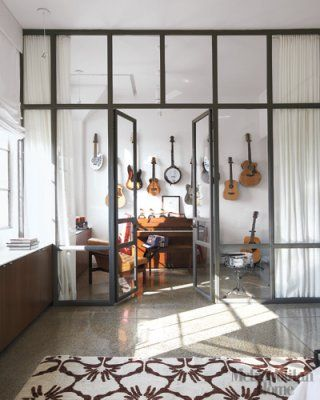 music room: Idea, Dreams, Glasses Wall, Guitar, House, Glasses Doors, Music Rooms, Modern Interiors, Instruments