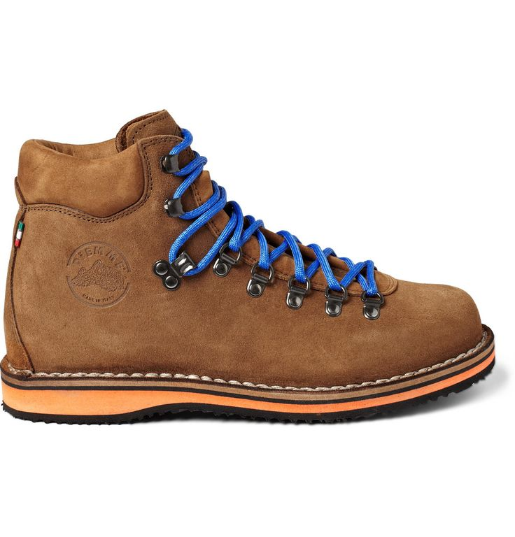 Tan suede Diemme boots with contrasting black and orange rubber Vibram soles, bright blue laces, D-ring eyelets, an embossed logo detail and full leather lining. Hand-crafted from the finest Italian materials for optimum performance and durability, these boots shouldn't be confined to hiking trips. Pair with favourite denim for a rugged take on city style.: Diemm Boots, Diemme Boots, Men'S Shoes Boots, Suede Tans, Shoe Boots, Men Shoes, Shoes Author