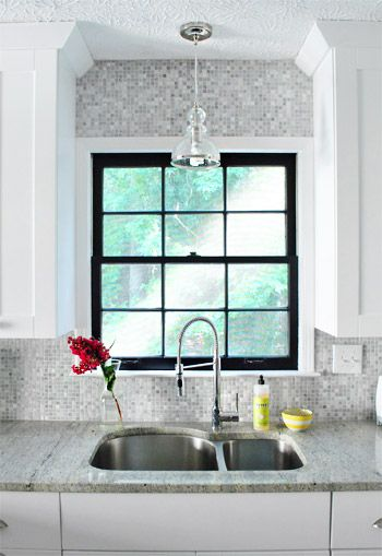window details painted black. love.: Young Houses Love, Decor, Kitchens Window, Black Window Frames, Idea, Black Frames, Black Windows, Mosaics Tile, Window Trims