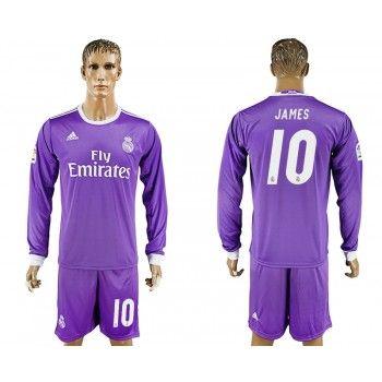 Real Madrid 16-17 James Rodriguez 10 Bortatröja Långärmad   #Billiga  #fotbollströjor