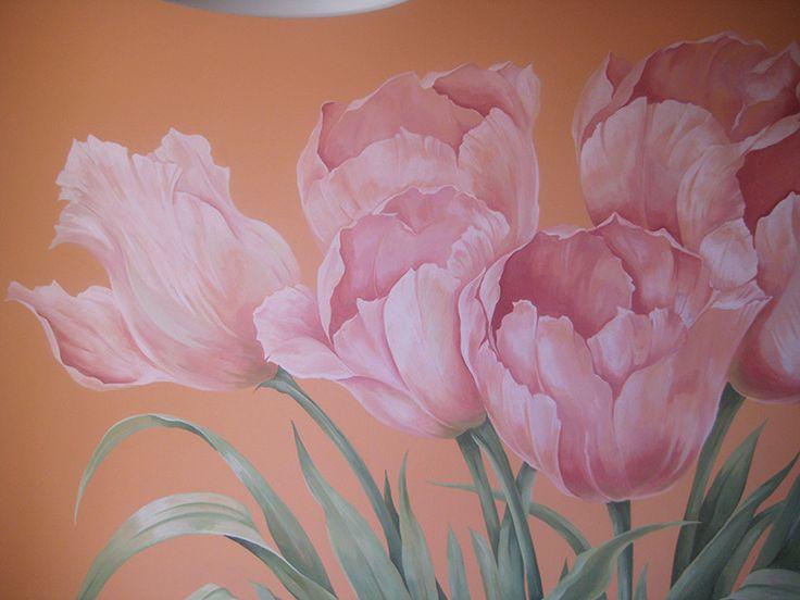 фрагмент росписи Тюльпаны