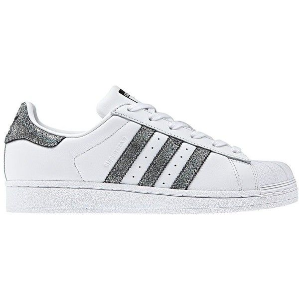 Adidas Women's Superstar Sneakers ($80) ❤ liked on Polyvore featuring shoes, sneakers, white black, adidas trainers, lace up sneakers, adidas shoes, black and white stripe shoes and holographic shoes