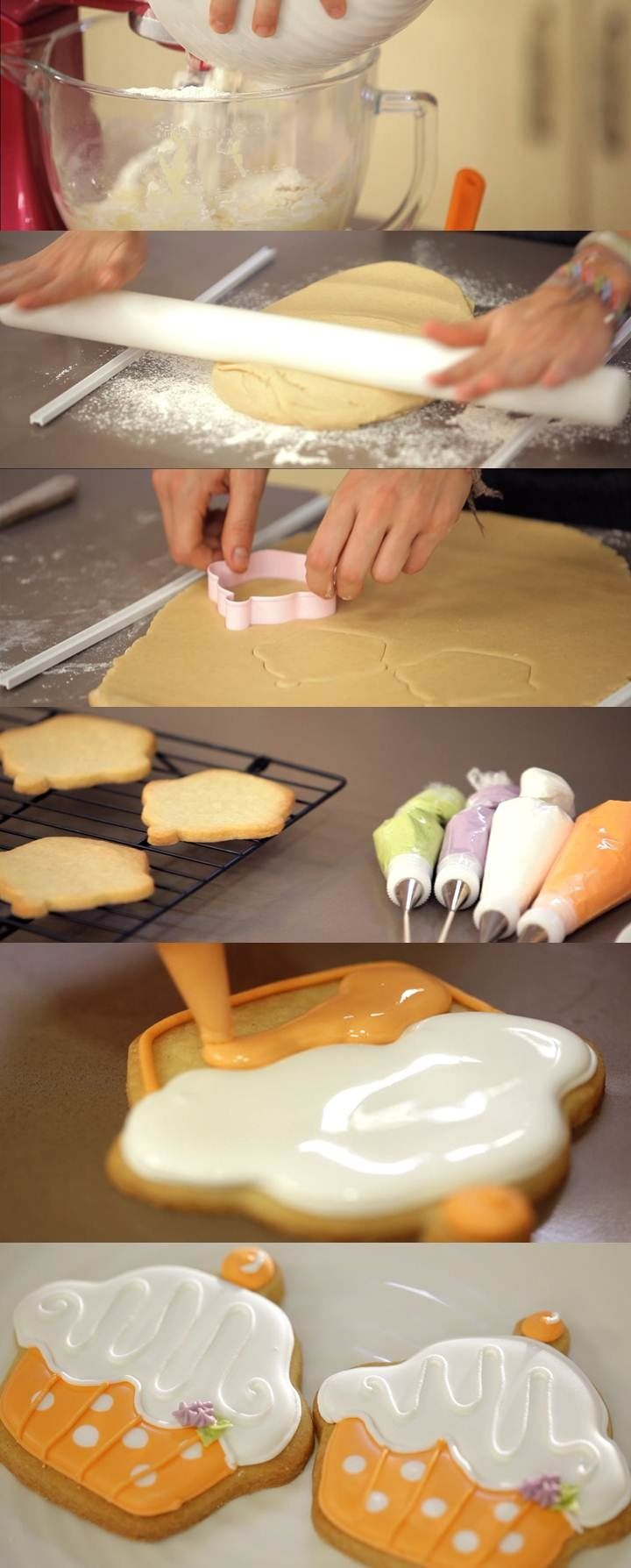 Cupcake Maniacs 4: Galletas con glasa en forma de Cupcake #food #recipes
