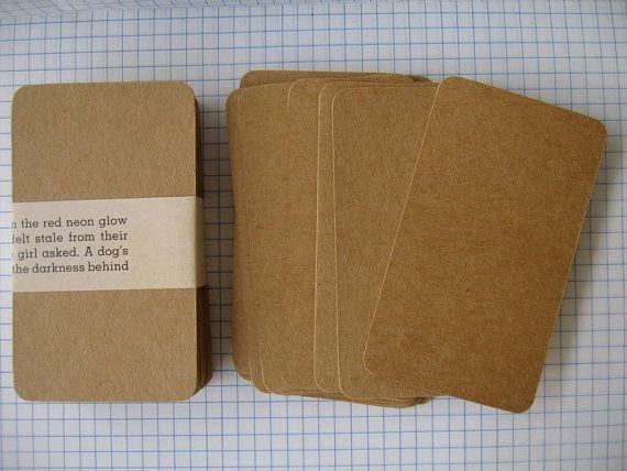 Set of 100 Kraft  Business CardsBlank Mini Note by handmadeconcept, $8.00