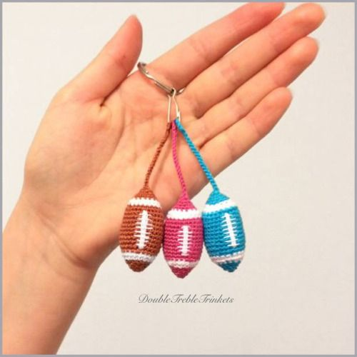 allcrochetpatterns:  Make your hubby a cute little accessory for his keys with this free pattern.  American football keychain by double treble trinkets: http://ift.tt/1raeRte