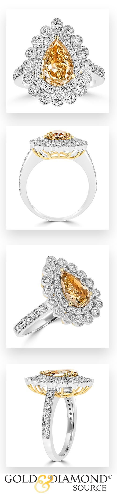 This Glamorous Juleve Ring Features one of a kind GIA Certified Fancy Brown Yellow & White Diamonds! The Ring Features a Lustrous Center 2.03 Carat Pear Shape Fancy Brown Yellow Diamond with SI1 Clarity. The Diamond is G.I. A Certified & is Surrounded by 0.74 Carat Total Weight Side Round Diamonds. The Diamonds are set in 18 Karat White & Yellow Gold. This Ring was Designed & Manufactured in the U.S.A.