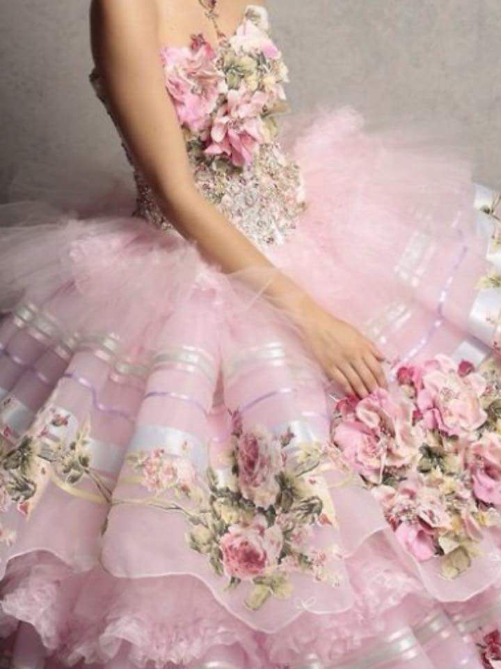 Romantic pink tulle, lace and embroidered silk