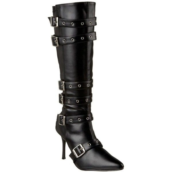 Funtasma Women's Spicy-138' Black Mid-calf Eyelet Strap Boots ($58) ❤ liked on Polyvore featuring costumes, black, sexy costumes, lady adult costume, sexy womens halloween costumes, adult halloween costumes and womens costumes