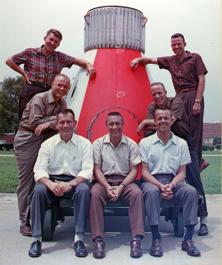 Boomer heroes - The Mercury Seven astronauts - introduced to us April 9, 1959 -  Cooper, Schirra, Shepard, Grissom, Glenn, Slayton, and Carpenter. Can you put the names with their photos? All are gone now except for John Glenn.