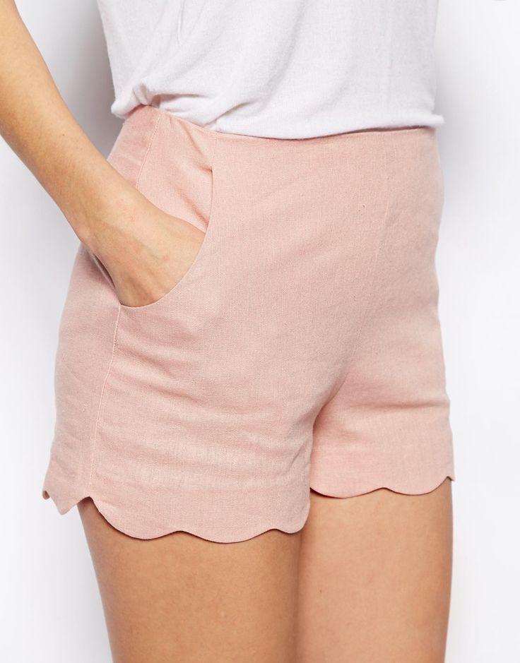 Pantalones cortos de lino con bajo festoneado de ASOS