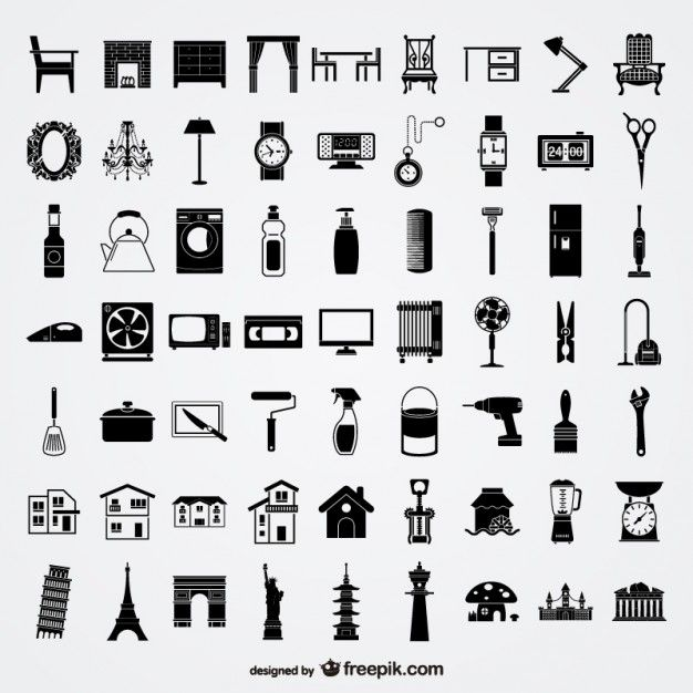 various sketch elements of vector material lifestyle elements Free Vector