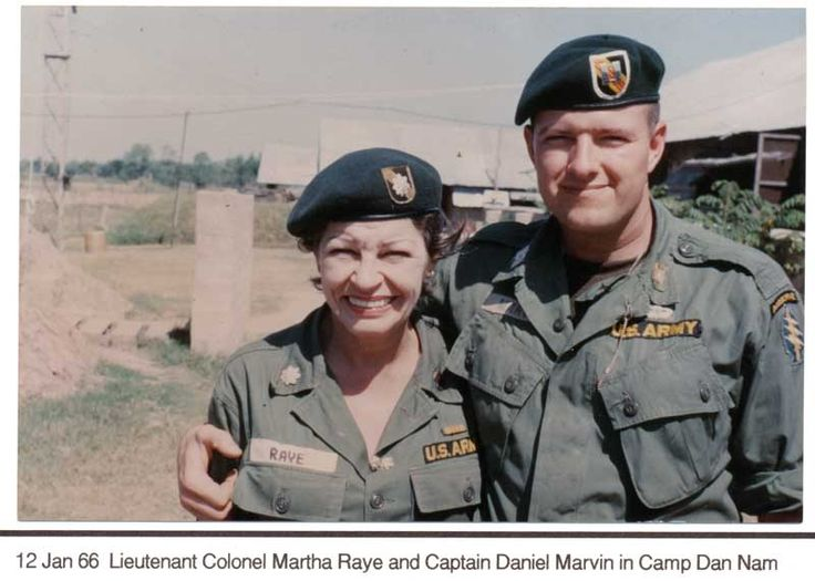 """Martha """"Colonel Maggie"""" Raye with Captain Daniel Marvin, U.S. 5th Special Forces, January 12, 1966, in Camp Dan Nam."""