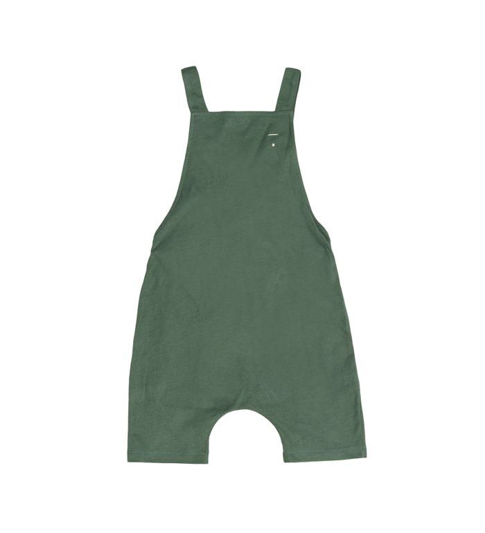 Gray Label Sage Green Salopette Shortleg Romper: Sage green salopette with short legs from Gray Label. Featuring a button on the back and adjustable straps. Made of the softest 100% GOTS certified organic cotton jersey.