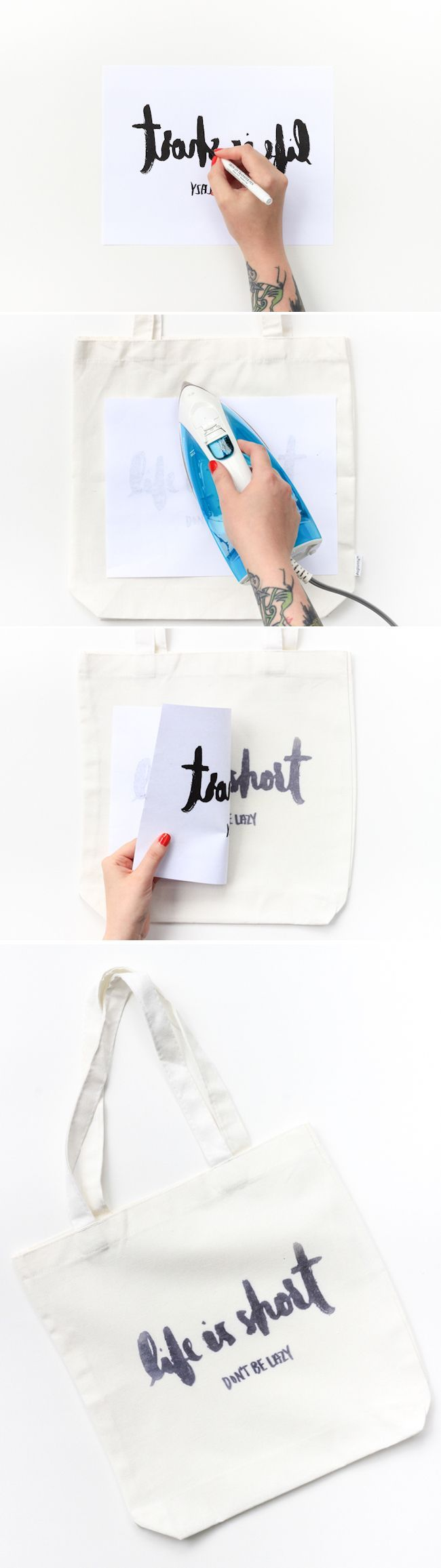 DIY Iron Transfer Tote - how to get your letters on fabric