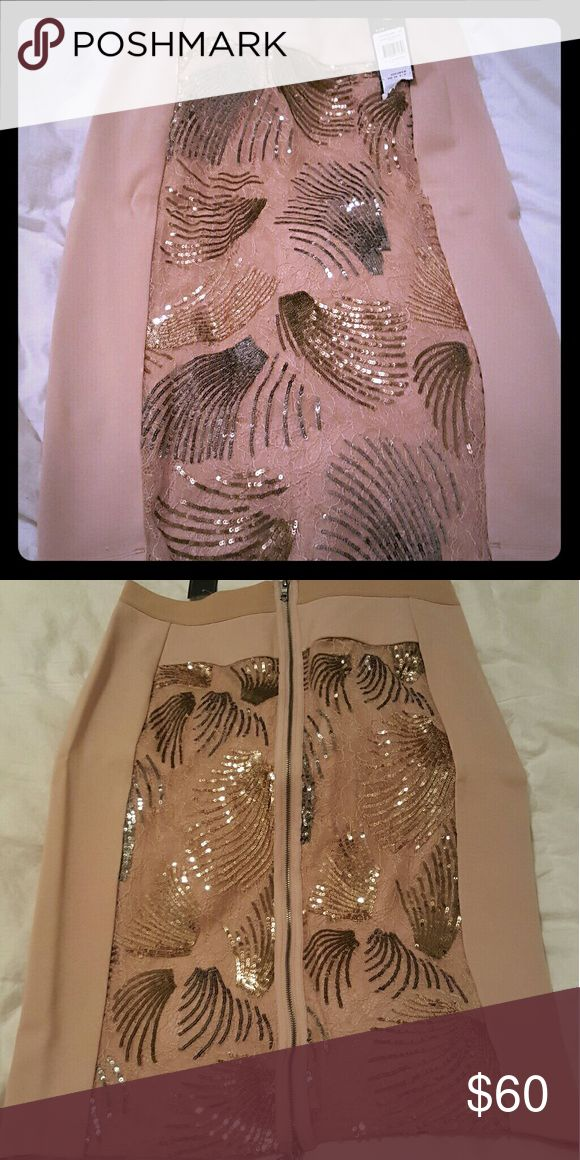 BCBG skirt Salmon with silver and gild sequin designs BCBG Skirts Pencil