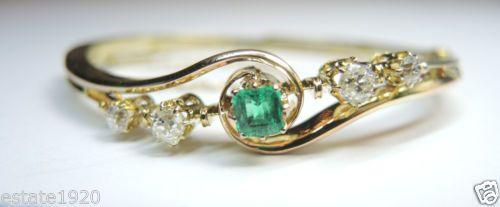 Antique Art Deco Colombian Emerald European Diamond Bracelet 18K Vintage Estate Fine Jewelry CIRCA ~ 1930's.