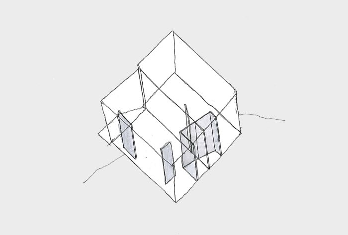 The rectangular volume has been modified with diagonal vertical elements.