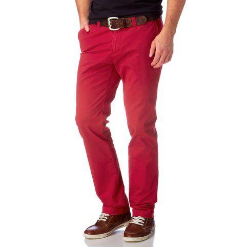 Pantalon chino coupe droite coton stretch L34 homme Rhode Island - Rouge- Vue 1