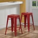 Tolix kırmızı bar sandalyesi 76 cm
