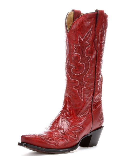 Corral's Red Goat Leather Cowgirl Boot. Supple, aged goat leather features red-on-red stitching and inlays for extra intensity.
