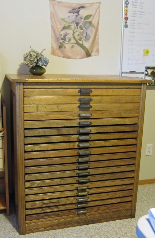 My Hamilton Printer Cabinet Before I Found Beads Used To Hand Dye Silk That S One Of Efforts Hanging Above The