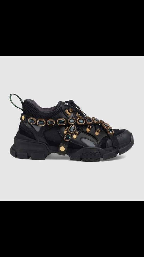 fd642bd5a98 Flashtrek Leather Sneaker With Crystals Gucci Shoe 5.5-10  fashion  clothing   shoes